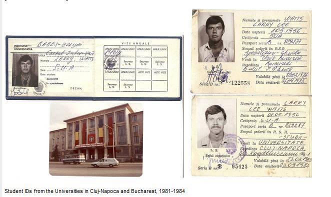 Larry Watts romániai igazolványai diákkorából. Forrás: Larry Watts Facebook-oldala