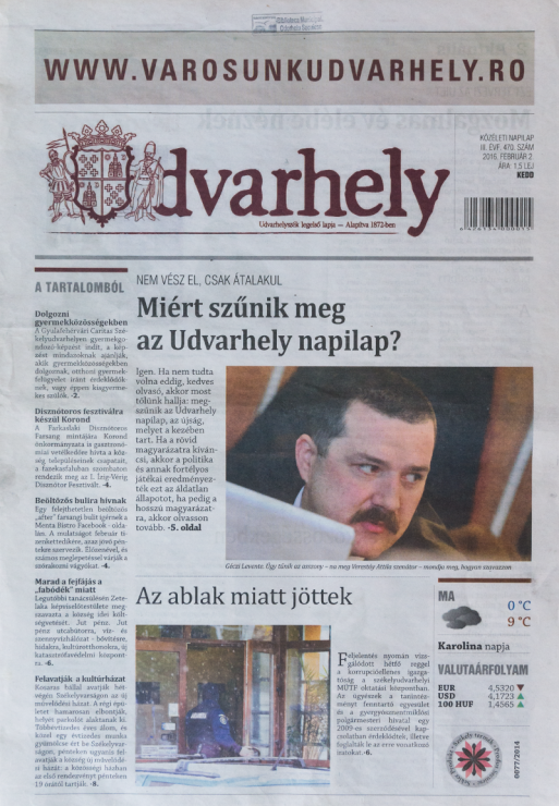 Az Udvarhely napilap címlapsztoriként hozta a helyi tanácsban elbukott törzstőke-emelést. A fotón Géczi Levente RMDSZ-es városi tanácsos látható. Fotó: Kelemen Attila