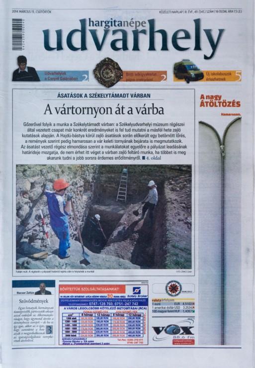 A Hargita Népe Udvarhely egy címoldala. Fotó: Kelemen Attila