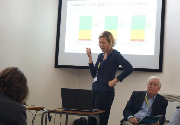 Rachel Oldroyd, a brit Bureau of Investigative Journalism szerkesztője, és Peter Cary, az egyesült államokbeli Center for Publidc Integrity tanácsadója