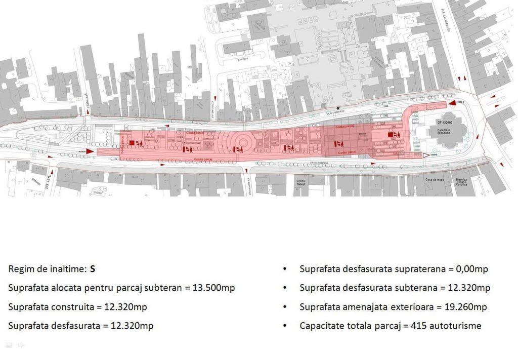 Planul parcării subterane la piața Trandafirilor, Târgu Mureș