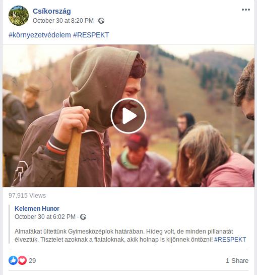 Kelemen Hunor egyik kampánybejegyzése a Csíkország Facebook-oldalon megosztva