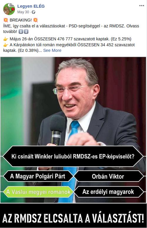 Az EP-választások után ez a hirdetés futott a Legyen ELÉG oldalon, 10-50 ezer felhasználót érve el
