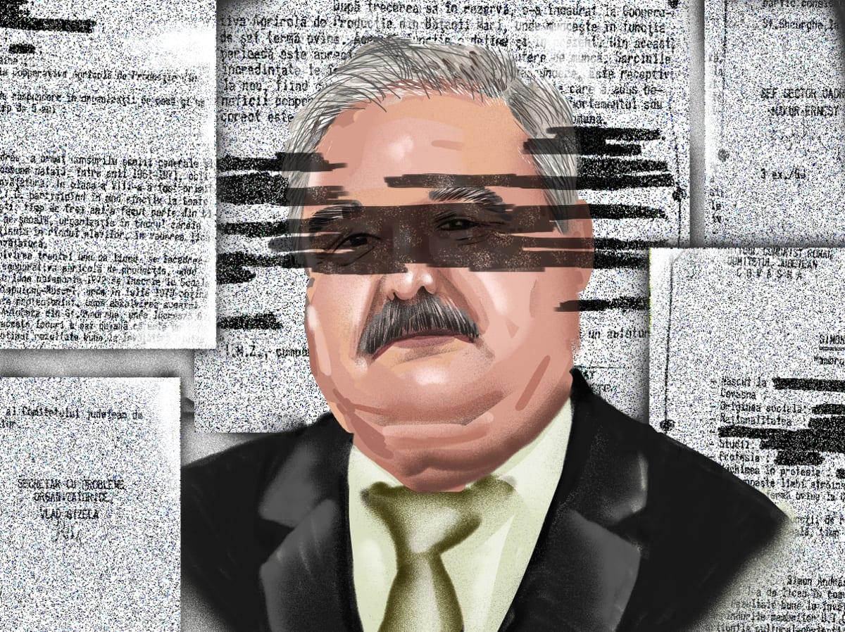 Simon András nagybaconi polgármester. Szén András grafikája