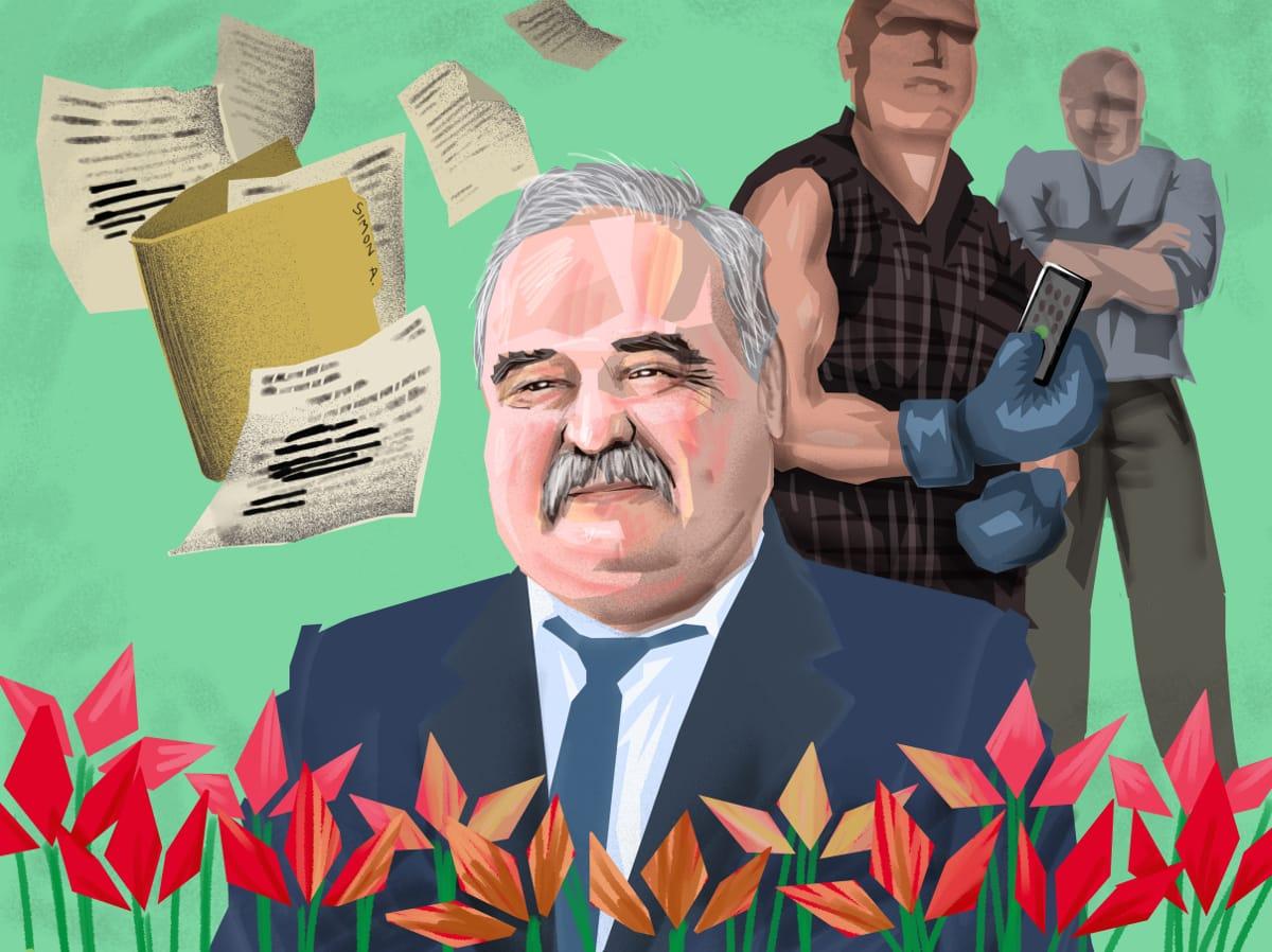 A nagybaconi polgármester, Simon András. Szén András grafikája