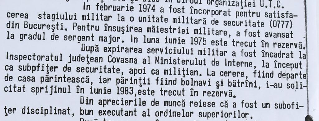 A belügyminisztérumi pályafutását tartalmazó részlet Simon András káderlapjáról