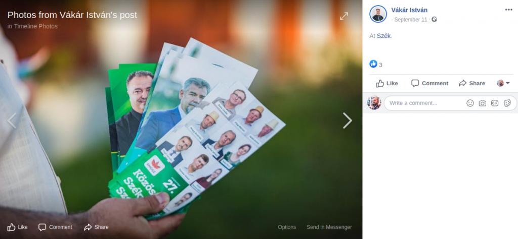 Sallai János szórólapja az RMDSZ-es szórólapok között. Fotó: a Kolozs megyei RMDSZ Facebook-oldala
