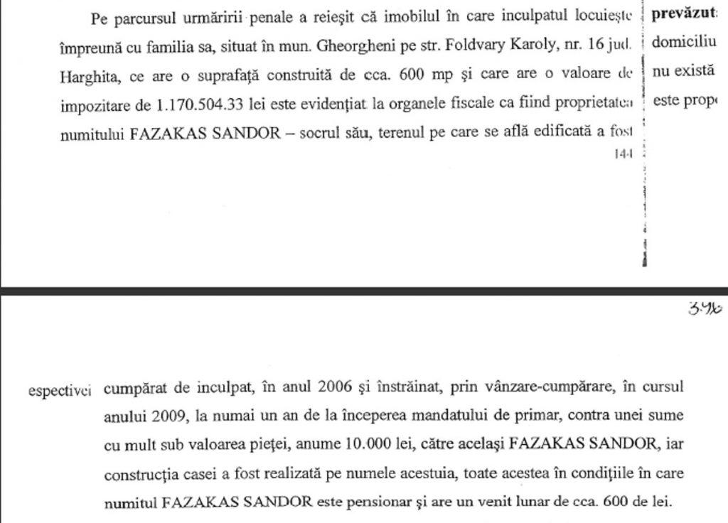 Az ingatlanra vonatkozó bekezdések a DNA vádiratában
