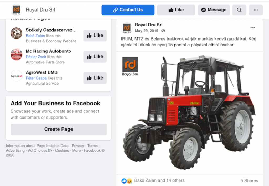 Belarus 820-as traktorral hirdeti a pályázatot a mezőgazdasági eszközöket forgalmazó Royal Dru SRL