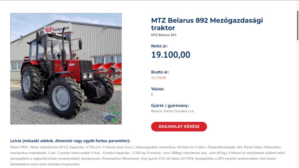 Tractorul Belarus 820 în Baza de Date a Furnizorilor Calificați