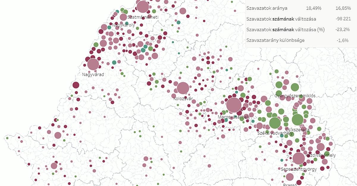 RMDSZ-re adott szavazatok térképe