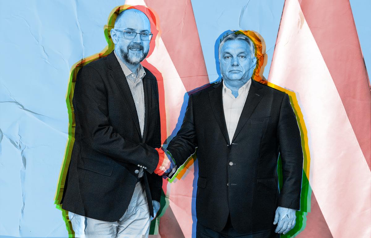 Kelemen Hunor és Orbán Viktor. Szén András grafikája