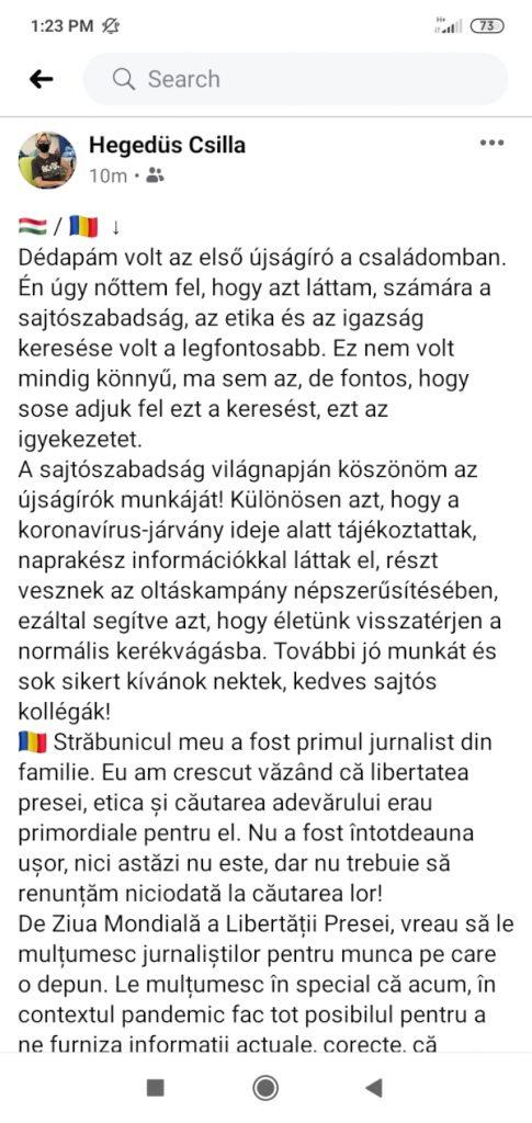 Hegedüs Csilla Facebook-bejezése a sajtószabadság világnapja alkalmából
