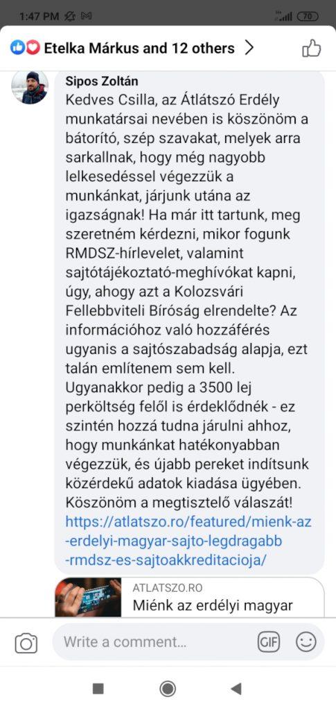Hegedüs Csilla posztjához a kommentünk