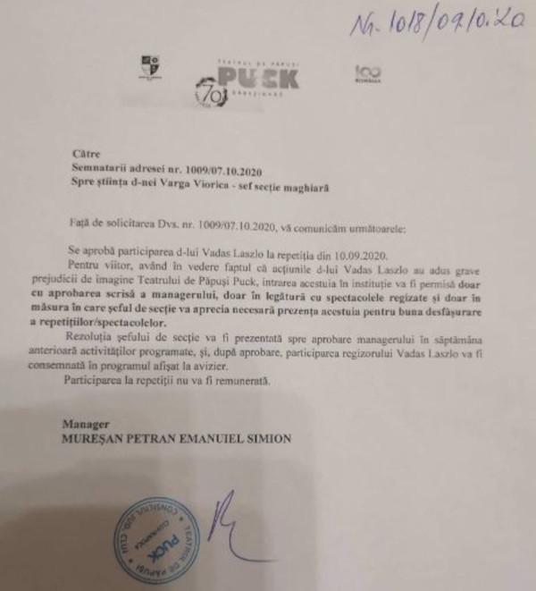 Emanuiel Petran válasza a magyar társulat beadványára